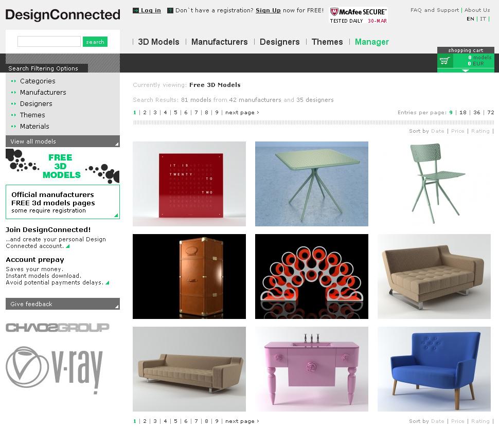 download kostenloser 3d modelle f r die architekturvisualisierung bei designconnected. Black Bedroom Furniture Sets. Home Design Ideas